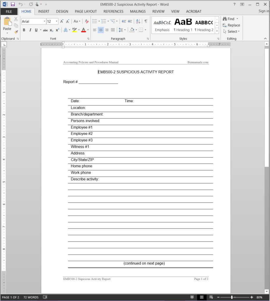 Suspicious Activity Report Template | Emb500 2 Intended For Activity Report Template Word
