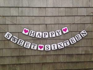 Sweet Sixteen Banner, Sweet Sixteen Birthday Decor, Sweet Sixteen Party,  Happy Sweet Sixteen, 16Th Birthday Decor, Birthday Glitter Banner with regard to Sweet 16 Banner Template