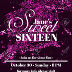 Sweet Sixteen Glitter Party Invitation Flyer Template Design Regarding Sweet 16 Banner Template