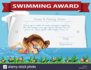 Swimming Award Certificate Template Illustration Stock for Swimming Award Certificate Template