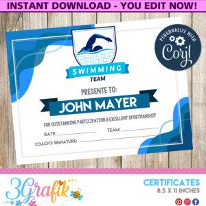 Swimming – Certificate – Printable – 3Grafik | Certificates for Swimming Award Certificate Template