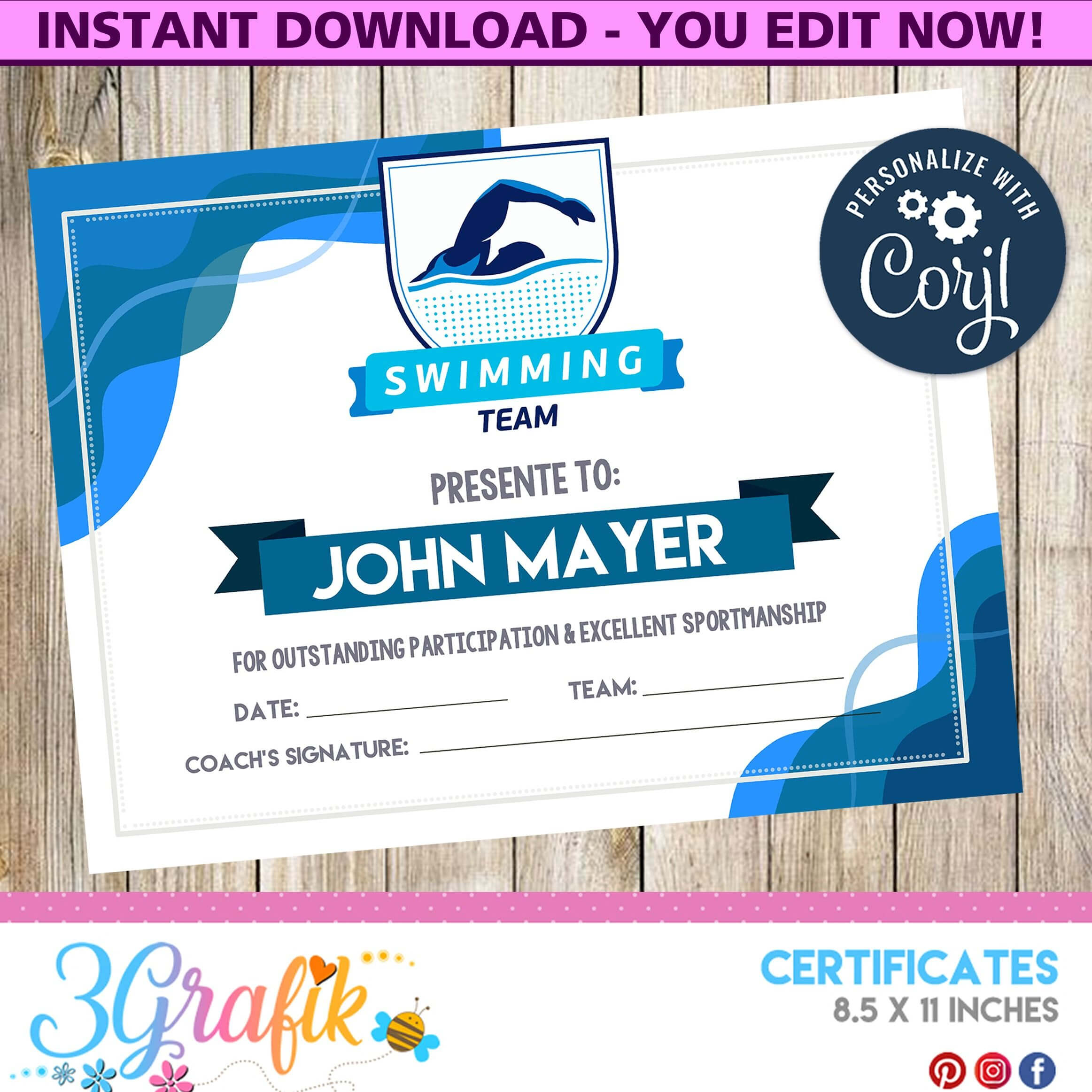 Swimming – Certificate – Printable - 3Grafik | Certificates Intended For Swimming Certificate Templates Free
