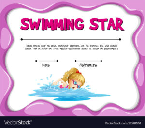 Swimming Star Certificate Template With Girl regarding Swimming Certificate Templates Free
