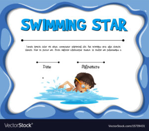 Swimming Star Certification Template With Swimmer with Swimming Award Certificate Template