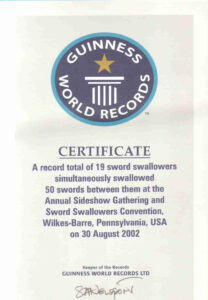 Sword Swallowers Association Intl Ssai Sword Swallowing pertaining to Guinness World Record Certificate Template
