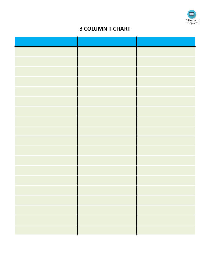 T Chart With 3 Columns | Templates At Allbusinesstemplates Throughout 3 Column Word Template