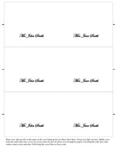 Table Name Cards Template 650*841 – Table Name Card Template For Table Place Card Template Free Download