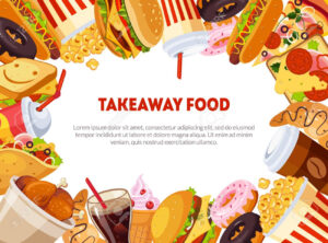 Takeaway Food Banner Template With Delicious Fast Food Dishes,.. intended for Food Banner Template