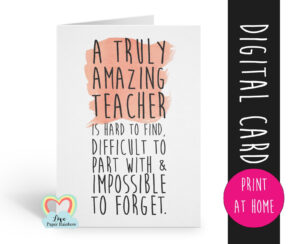 Teacher Card Printable Teacher Retirement Card Instant within Retirement Card Template