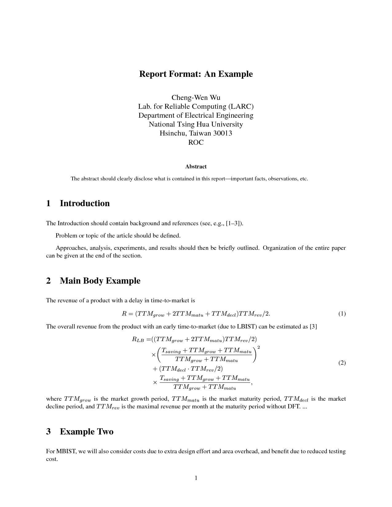Technical Report Format | Glendale Community In Technical Report Template Latex