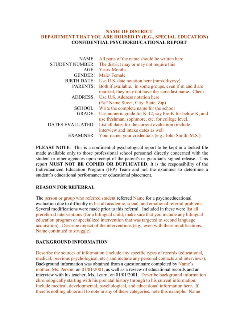 Template For A Bilingual Psychoeducational Report Pertaining To School Psychologist Report Template