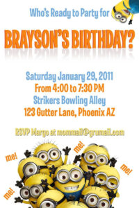 Template For A Dispicable Me Invitation Cards | Despicable intended for Minion Card Template