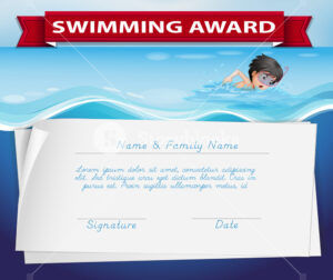 Template Of Certificate For Swimming Award Illustration intended for Swimming Award Certificate Template