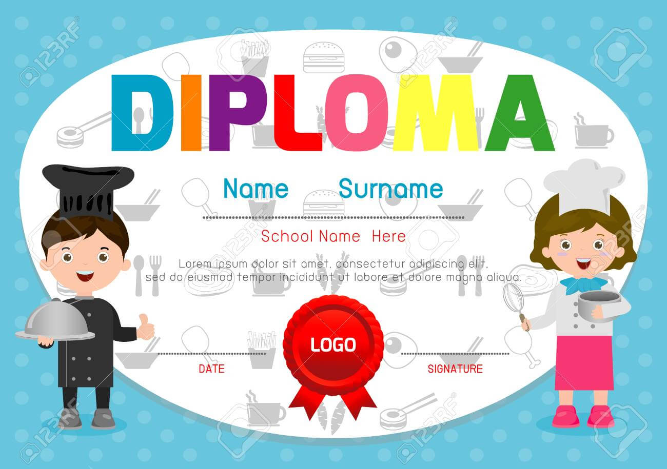Template Of Children's Diplomas And Certificates, Little Chef.. Throughout Children's Certificate Template