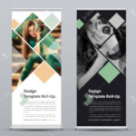 Template Of Vector Vertical Roll Up Banner With Square Elements.. Intended For Photography Banner Template