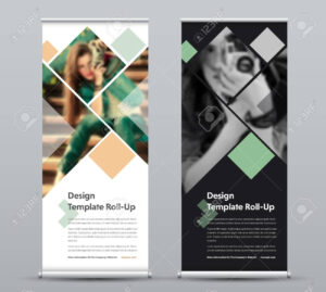 Template Of Vector Vertical Roll-Up Banner With Square Elements.. intended for Photography Banner Template