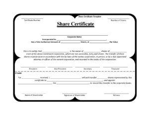 Template Share Certificate Rbscqi9V   Share Certificate within Template For Share Certificate