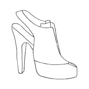 Template Stiletto Shoe High Heel Printable Fondant Baby – Empoto Intended For High Heel Template For Cards