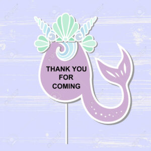 Template With Mermaid's Crown And Tail For Party Invitation,.. With Template For Baby Shower Thank You Cards