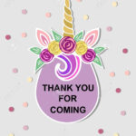 Template With Unicorn Tiara For Party Invitation, Baby Shower,.. Regarding Thank You Card Template For Baby Shower