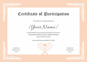 Tennis Participation Certificate Template In Templates For Certificates Of Participation