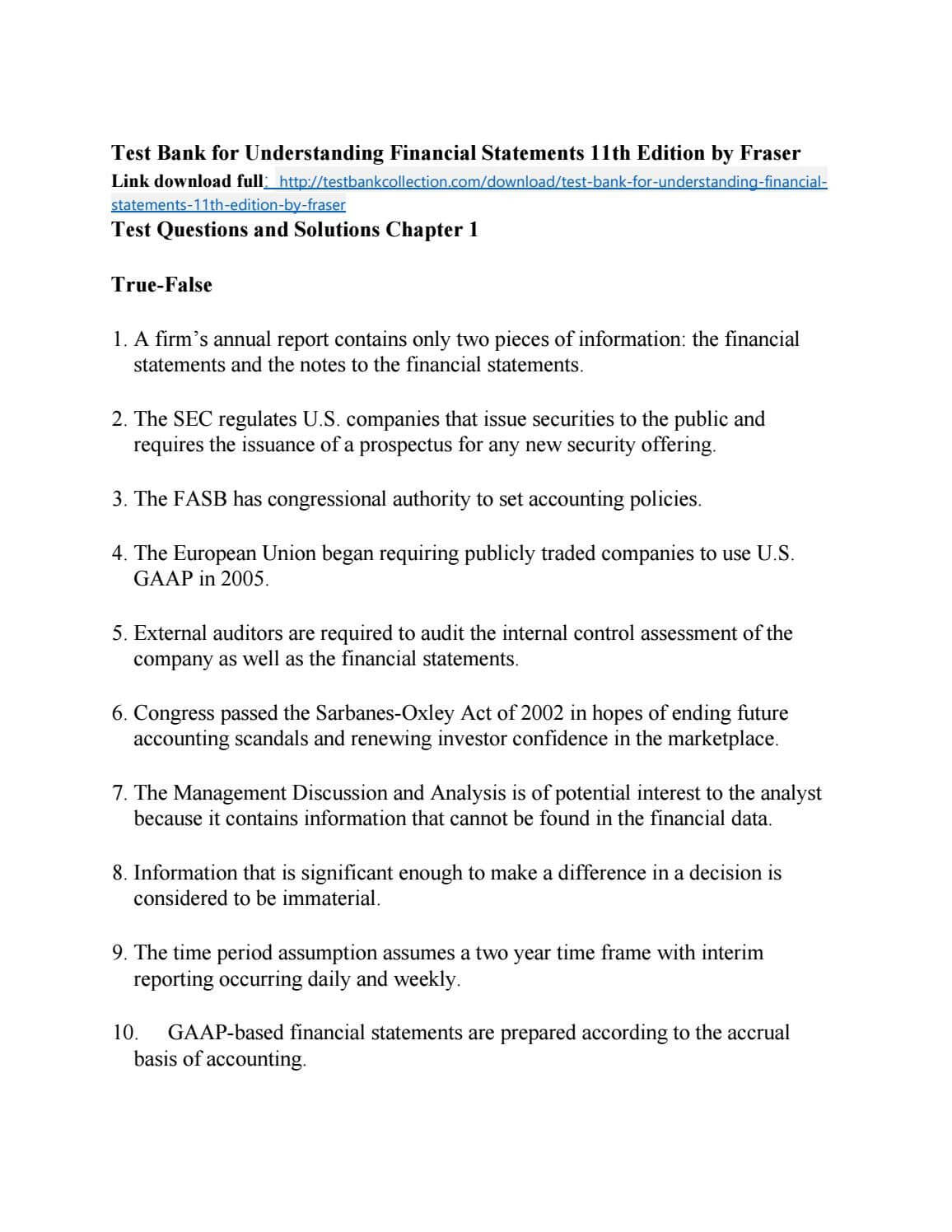 Test Bank For Understanding Financial Statements 11Th Pertaining To Forensic Accounting Report Template