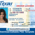 Texas Driver License Psd Template | Download Editable File With Blank Drivers License Template