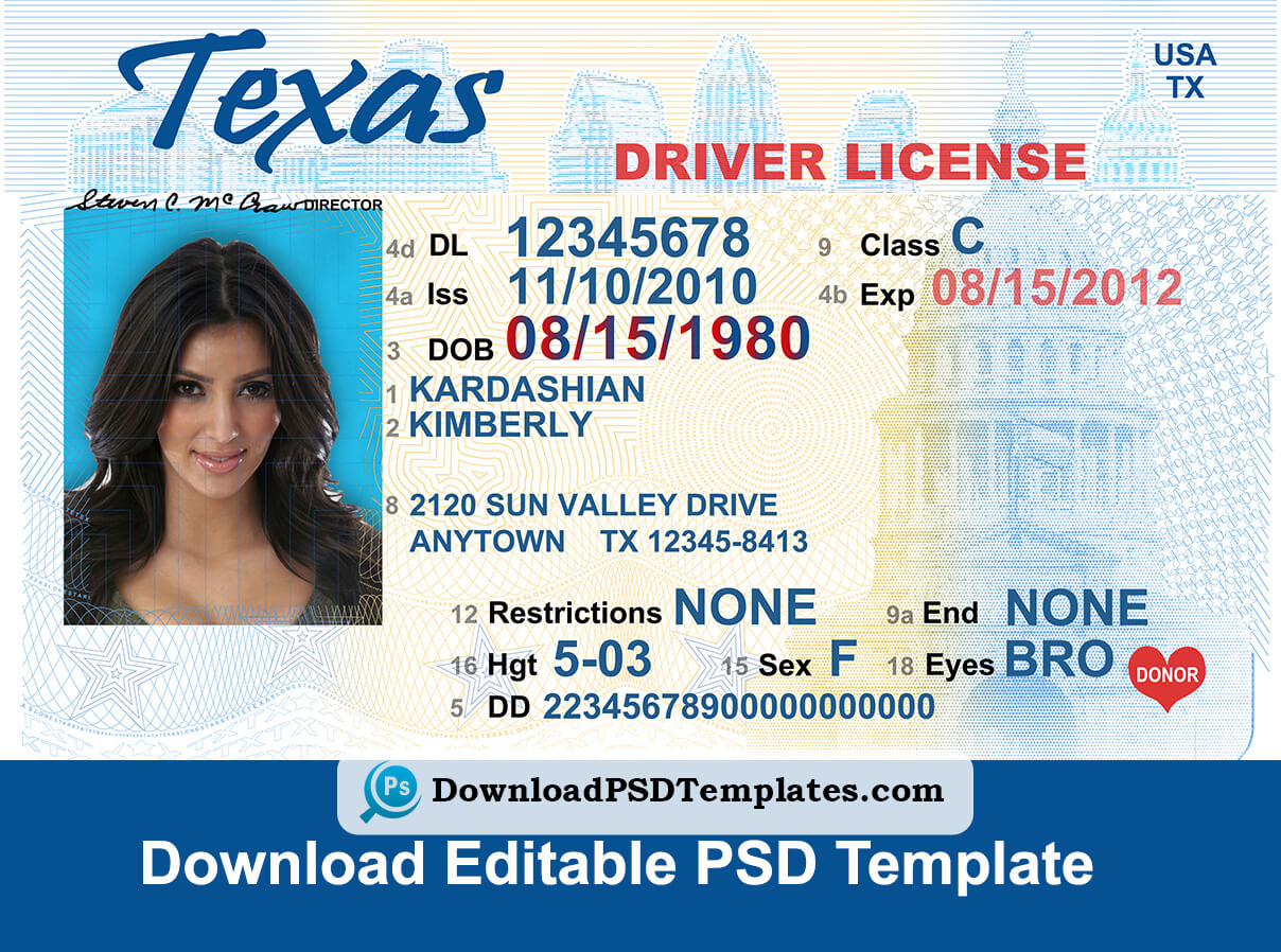 Texas Driver License Psd Template   Download Editable File With Blank Drivers License Template