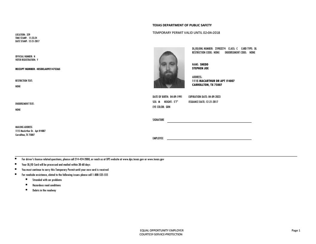Texas Driver's Permit, Temporary – Documents Store | Drivers With Texas Id Card Template