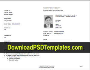Texas Temporary Permit Template Psd Regarding Texas Id Card Template