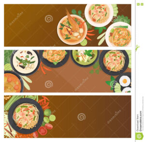 Thai Food Banner Template Stock Vector. Illustration Of intended for Food Banner Template