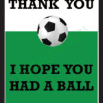 Thank You Card For Party Favors – Soccer Theme Pertaining To Soccer Thank You Card Template