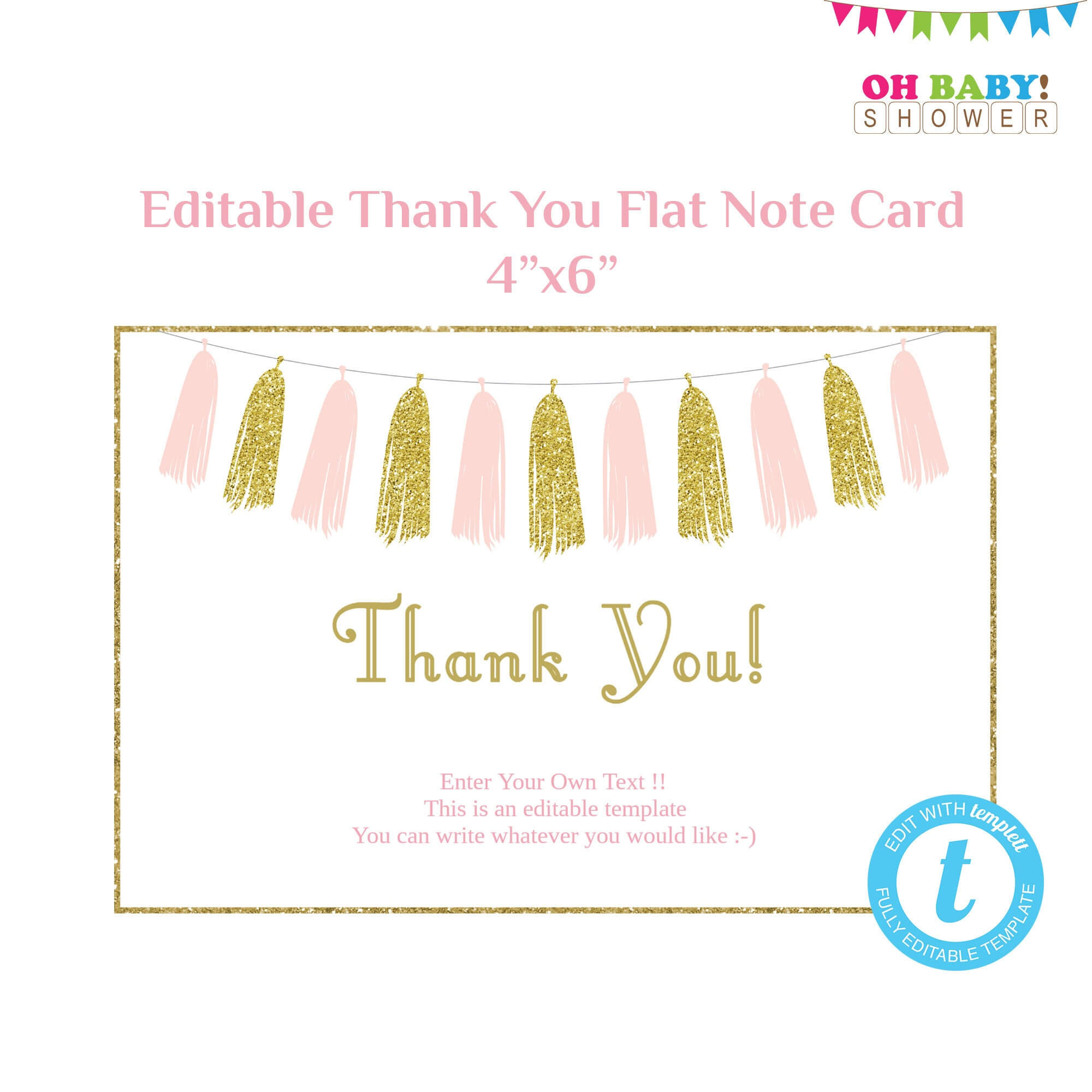 Thank You Card Template Flat Note Card Editable Card Pink Gold Baby Shower  Girl, Printable Thank Yous, Pink And Gold Tassels Download Taspg for Thank You Note Card Template