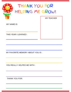Thank You Letter To Teacher From Student – Free Printable in Thank You Card For Teacher Template