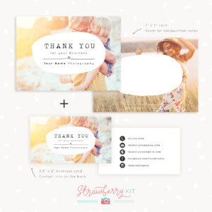 Thank You Note Card For Business | Set Of Two – Strawberry Kit in Thank You Note Card Template