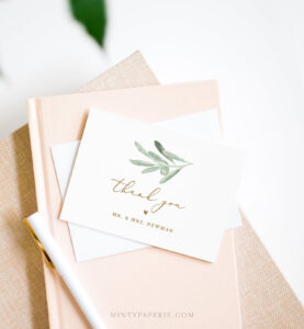 Thank You Note Card Template, Printable Olive Leaves, Greenery Wedding /  Bridal Shower Folded Card, Instant Download, Editable #081-120Tyc within Thank You Note Card Template