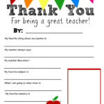 Thank You Teacher Free Printable | School Days | Teacher regarding Thank You Card For Teacher Template