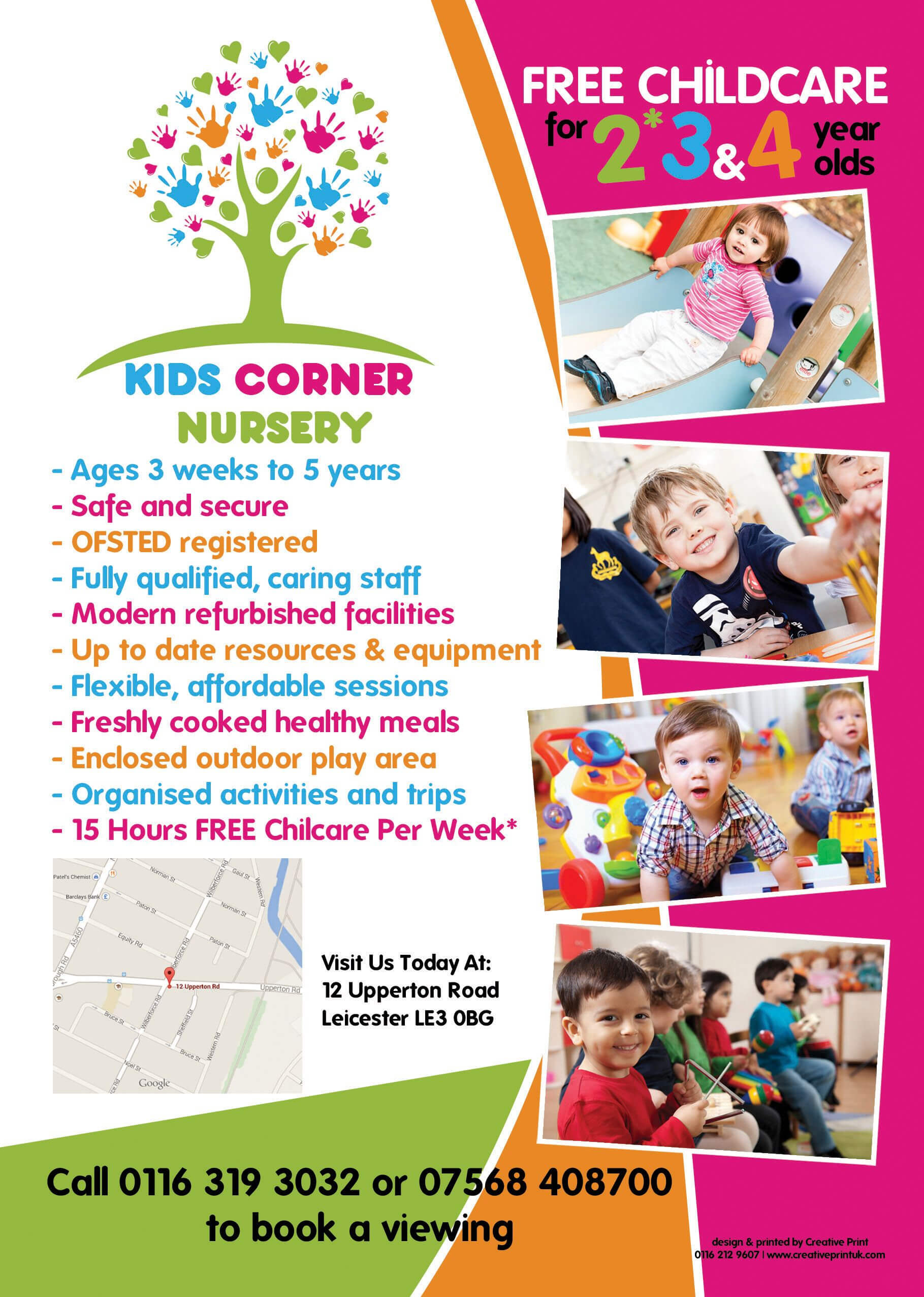 The Back Of An A5 Flyer Designed For Kids Corner Nursery In Within Play School Brochure Templates
