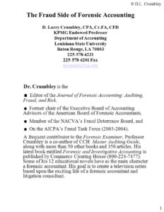 The Fraud Side Of Forensic Accounting D. Larry Crumbley, Cpa pertaining to Forensic Accounting Report Template