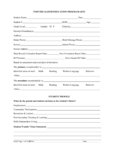 The Iep Form Filled In – Fill Online, Printable, Fillable inside Blank Iep Template