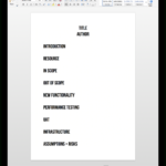 The One Page Test Plan   Mot Throughout Software Test Plan Template Word