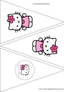 The Vintage Farmhouse: Hello Kitty Party & Free Printables pertaining to Hello Kitty Birthday Banner Template Free