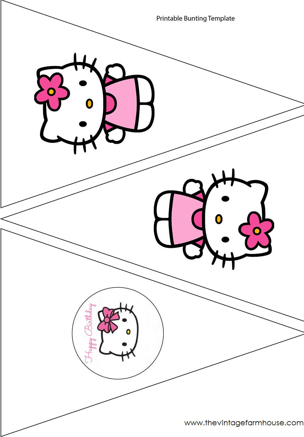 The Vintage Farmhouse: Hello Kitty Party & Free Printables With Regard To Hello Kitty Banner Template