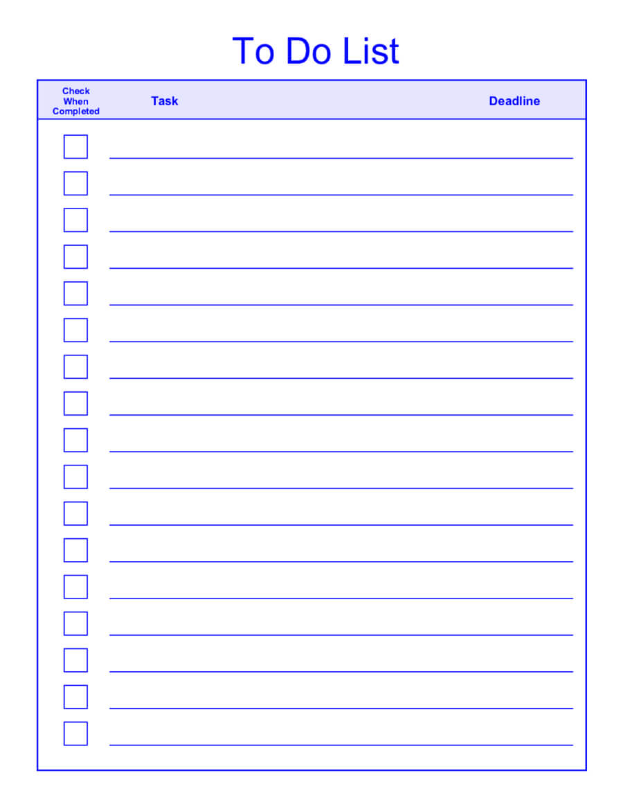 Things To Do List Template Pdf For Blank To Do List Template