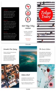 Tokyo Professional Travel Tri Fold Brochure Template in Island Brochure Template