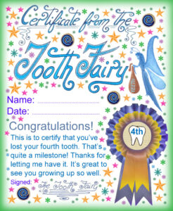 Tooth Fairy Certificate: Award For Losing Your Fourth Tooth within Tooth Fairy Certificate Template Free