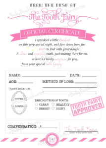 Tooth Fairy Certificate – Pink – Instant Download with regard to Tooth Fairy Certificate Template Free