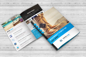 Tours & Travel Bi-Fold Brochure Template for Two Fold Brochure Template Psd