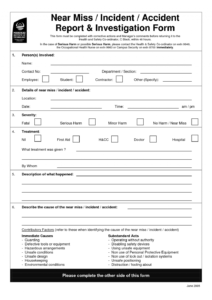 Traffic Ident Investigation Report Format Form Hse Incident inside Near Miss Incident Report Template