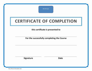 Training Certificate Of Completion in Certificate Of Completion Word Template